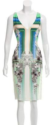 Antonio Berardi Abstract-Printed Knee-Length Dress Green Abstract-Printed Knee-Length Dress