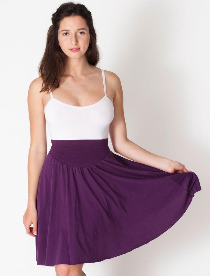 American Apparel Sheer Jersey Shirred Knee-Length Full Skirt