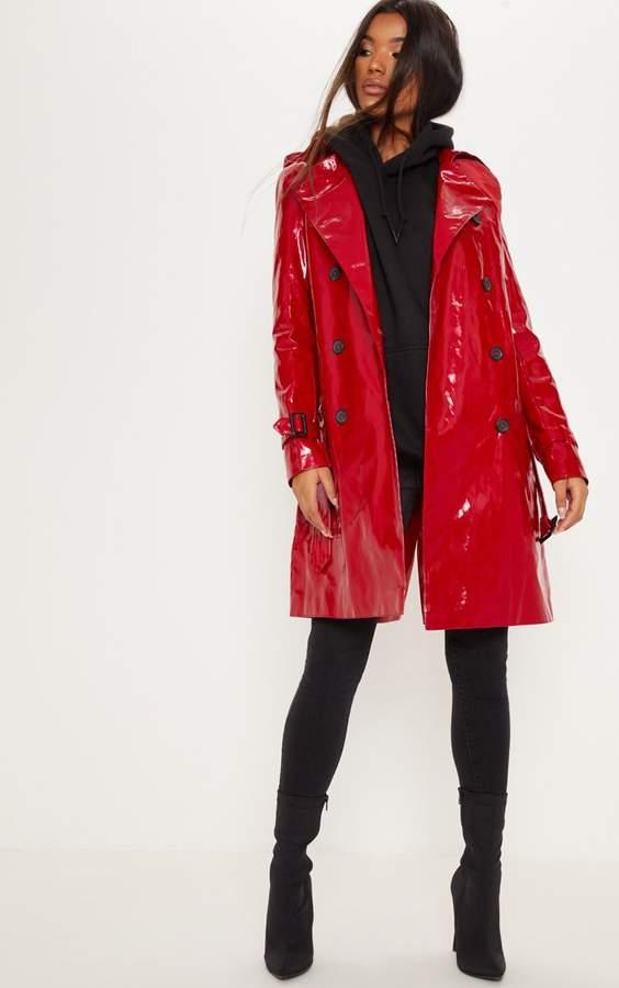 Red Vinyl Trench Coat