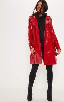 PrettyLittleThing Red Vinyl Trench Coat