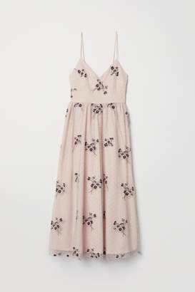 H&M Embroidered Mesh Dress - Pink