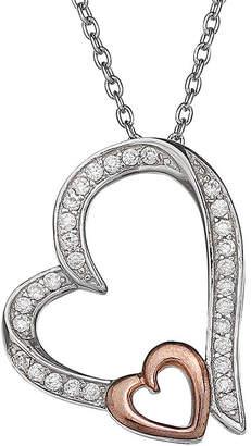 SILVER TREASURES Silver Enchantment Cubic Zirconia Heart Pendant Necklace