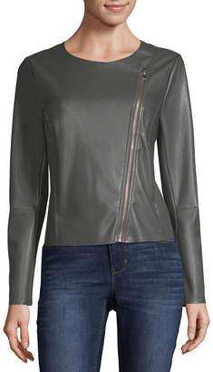 WORTHINGTON Worthington Zip Front Faux Leather Jacket