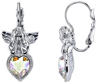 Symbols Of Faith Silver-Tone Crystal Ab Heart Angel Earrings