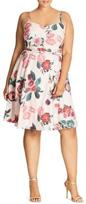 City Chic Plus Pleated Floral Print Dress