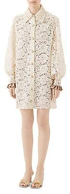 Gucci Women's Floral Lace Shirtdress