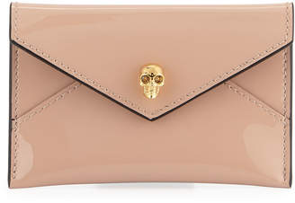 Alexander McQueen Skull Patent Leather Envelope Card Case