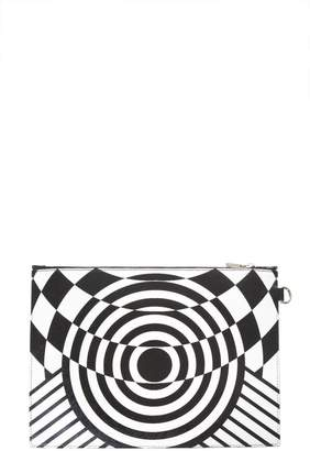 Versace Optillusion White & Black Leather Clutch