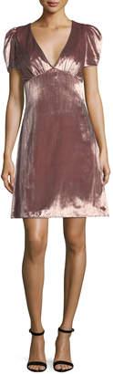 Milly Christine Puff-Sleeve Panne Velvet Dress