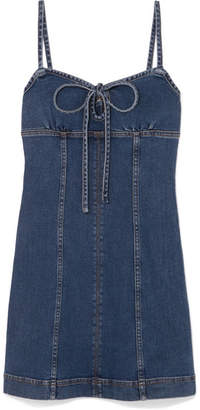 ALEXACHUNG Denim Mini Dress - Mid denim