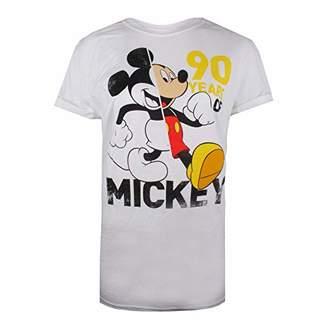Disney Women's 90 Years of Mickey T-Shirt, White, (Size:X-Large)