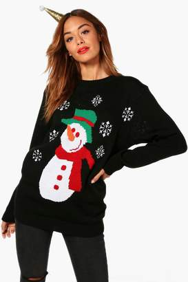 boohoo Isabelle Snowman And Snowflake Christmas Jumper