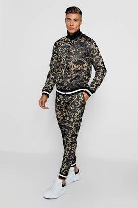 boohoo Baroque Print Funnel Neck Skinny Fit Tracksuit