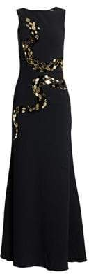 Roberto Cavalli Silk Satin & Tulle Embellished Gown