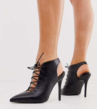 Asos Design DESIGN Wide Fit Proud lace up high heeled shoe boots in black