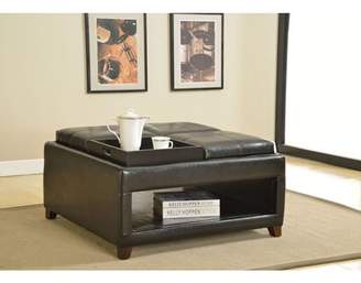 ACME Furniture Faux Leather Ottoman with 4 Trays, Espresso