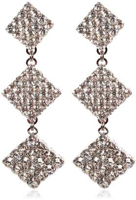 Crystal Long Square Clip-On Earrings