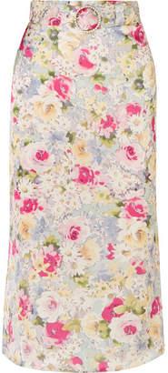 Art Dealer - Rosie Belted Faux Pearl-embellished Floral-print Satin Midi Skirt - Pink