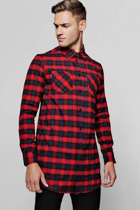 boohoo Long Sleeve Red Check Longline Shirt