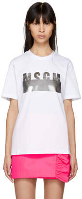 MSGM White Stamped Logo T-Shirt