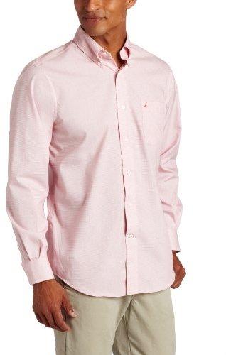 Nautica Men's Long Sleeve Non Solid Color Shirt, Sailor Red, Medium