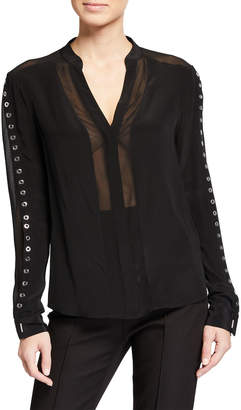 Chelsea and Walker Grommet-Sleeve Button Up Silk Blouse