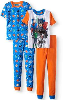 Justice League Graphic Short Sleeve and Pant 4 Piece Pajama Set (Little Boys & Big Boys)