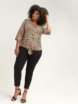 Leopard Print Top with Twisted Front - L&L