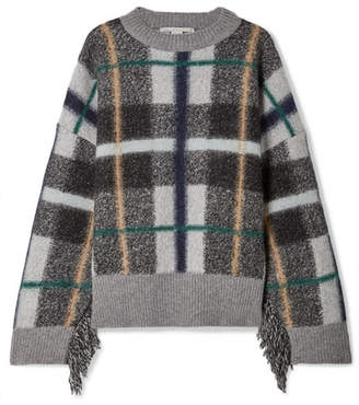 Stella McCartney Oversized Fringed Plaid-intarsia Wool Sweater - Gray
