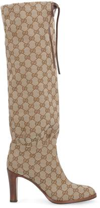 Gucci Gg Fabric Knee-high Boots