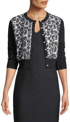 Karl Lagerfeld Paris Contrast Lace-Front Shrug Cardigan