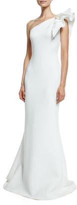 Jovani One-Shoulder Ruffle-Trim Mermaid Gown $595 thestylecure.com