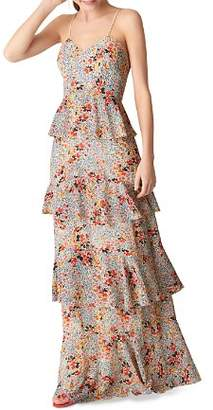Whistles Anette Tiered Floral-Print Gown