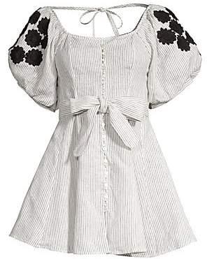 Innika Choo Women's Madonna Pinstriped Puff Sleeve Mini Dress