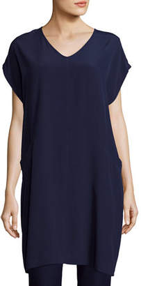 Eileen Fisher Short Sleeve Crinkle Crepe Tunic, Petite