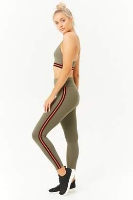 Forever 21 Active Striped-Trim Leggings