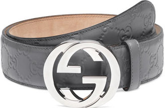 Gucci Interlocking G-Buckle Leather Belt $390 thestylecure.com