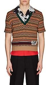 Prada Men's Argyle Wool-Cashmere Jacquard Sweater - Orange