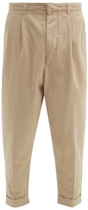 Ami Turn Up Cotton Gabardine Trousers - Mens - Beige