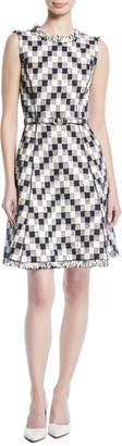 Oscar de la Renta Sleeveless A-line Tweed Dress w/ Belt