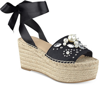 GUESS Women's Razzle Embellished Lace-Up Espadrilles $99 thestylecure.com