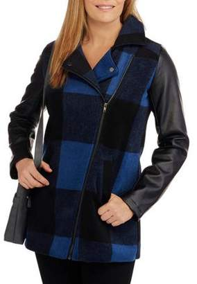 Buffalo David Bitton Maxwell Studio Women's Plaid Faux Wool Coat With Faux Leather Sleeves