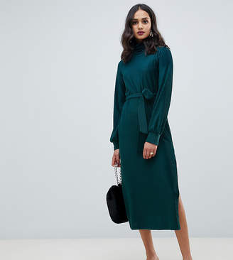 Miss Selfridge midi dress with high neck in green velvet