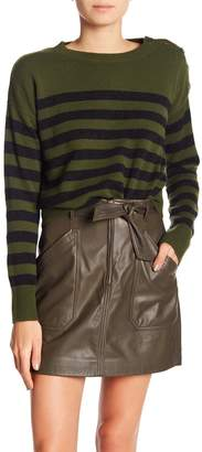 Vince Shoulder Button Striped Cashmere Sweater