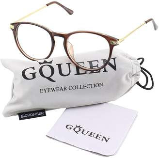3592bc7466f clear GQUEEN Glasses Queen 201592 Fashion Keyhole Metal Temple Oval Horn  Rimmed Lens Glasses
