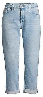AG Jeans Women's Ex-Boyfriend Slim-Fit Light Wash Crop Jeans