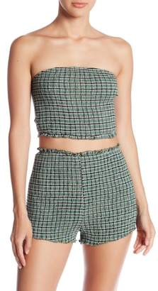 Honey Punch Smocked Checkered Tube Top
