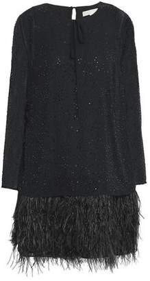 MICHAEL Michael Kors Beaded Feather-trimmed Chiffon Mini Dress