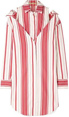 Hellessy Duquette Layered Striped Silk And Cotton-blend Shirt - Bubblegum