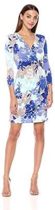 Calvin Klein Women's 3/4 Sleeve Mock Wrap Dress